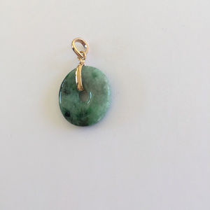 NLF Jewelry Jewelry - NEW Small 18K Yellow Gold Round Donut Jade Pendant
